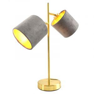Moderne, gouden tafellamp Tamer met 2 grijze kapjes