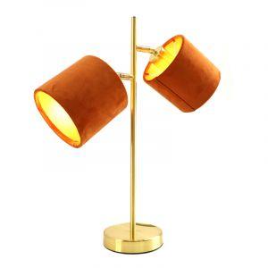 Moderne, gouden tafellamp Tamer met 2 oranje kapjes