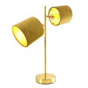 Moderne, gouden tafellamp Tamer met 2 gele kapjes