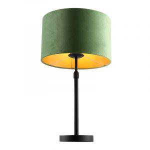 Staande tafellamp Kristien, met groen/goud velours kap