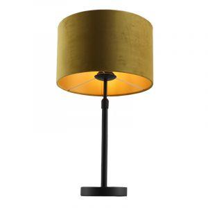 Staande tafellamp Kristien, met geel/goud velours kap