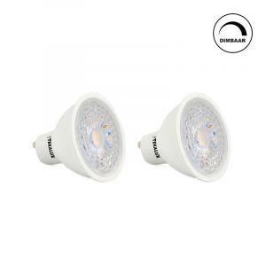 Dimbare Witte GU10 LED lamp Antonie, 5w, warm wit (2x)