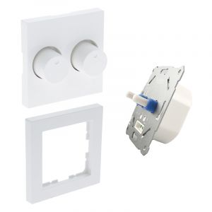 Duo dimmer, switch, met witte afdekraam en centraalplaat