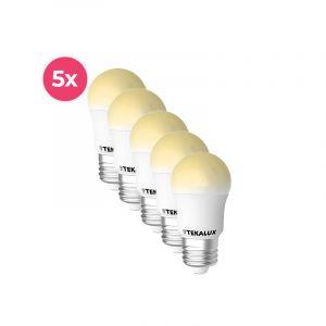 5-pack Tekalux Horan E27 LED kogellamp warm wit, 4w