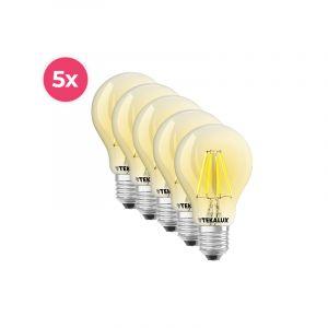 5-pack Dimbare Tekalux Yona E27 A60 LED lamp, 2700k, 5w