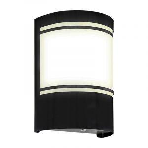 Moderne buiten wandlamp met schemersensor Manuel, zwart, aluminium, IP44