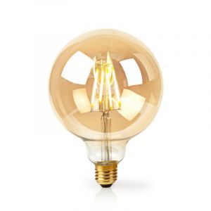 E27 smart wifi LED grote bol amberkleurige filament lamp, G125, 5w, warm wit