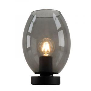 Zwarte ovale Design tafellamp Giulio, rookglas, met touchdimmer