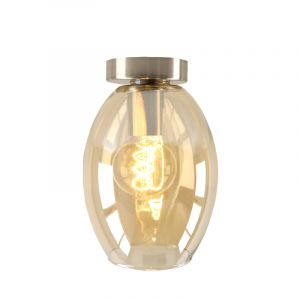 Design plafondlamp Hanae, amber ovaal glas, chroom fitting