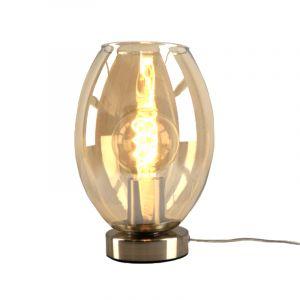 Stalen Design tafellamp Hatice met amberkleurige ovale glaskap