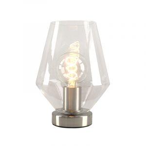 Stalen Design tafellamp Hatice met transparante diamant glaskap