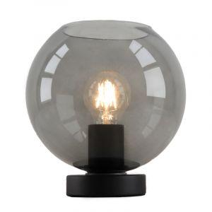 Zwarte, smoke grey ronde tafellamp Iza, met schakelaar