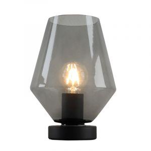 Zwarte, smoke grey diamant tafellamp Iza, met schakelaar