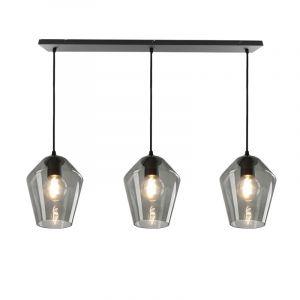 Janou hanglamp met 3 design rookglas diamant kappen