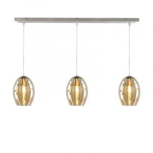 Stalen design hanglamp Joany met 3 amberkleurige glazen ovale kappen