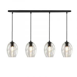 Design hanglamp Manita, 4 transparante ovale lampenkappen