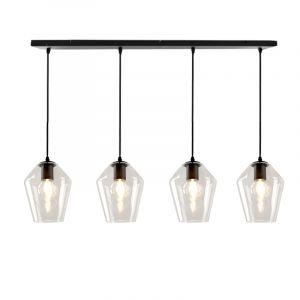 Design hanglamp Manita, 4 transparante diamant kappen