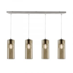 Glazen design hanglamp Mary, 4 amberkleurige kokers