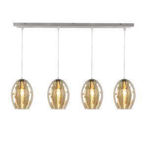 Glazen design hanglamp Mary, 4 amberkleurige ovale kappen
