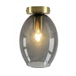 Design gouden glazen plafondlamp Marwin, smoke grey ovale kap