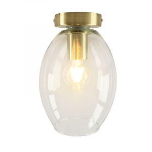Design gouden glazen plafondlamp Marwin,transparante ovale kap