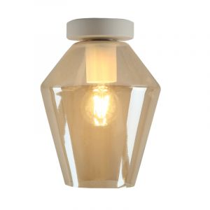 Witte glazen design plafondlamp Marvin, Amber diamant