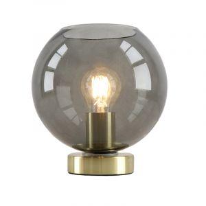 Design gouden glazen tafellamp Maury, smoke grey glazen bol