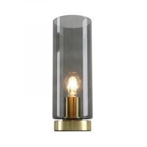 Design gouden glazen tafellamp Maury, smoke grey koker