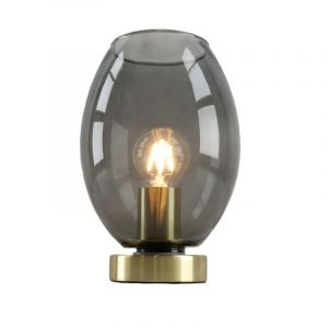Design gouden glazen tafellamp Maury, smoke grey ovale kap