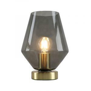 Design gouden glazen tafellamp Maury, smoke grey diamant