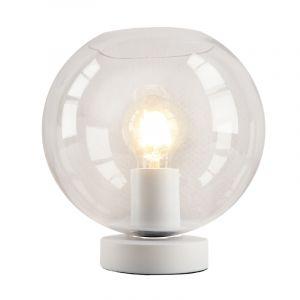 Witte glazen design tafellamp Mavis, transparante bol