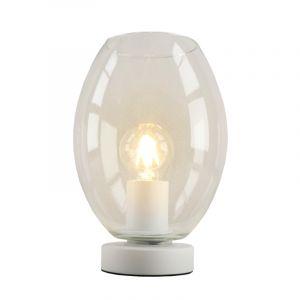 Witte glazen design tafellamp Mavis, transparante ovaal