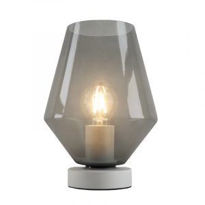 Witte glazen design tafellamp Mavis, smoke grey diamant