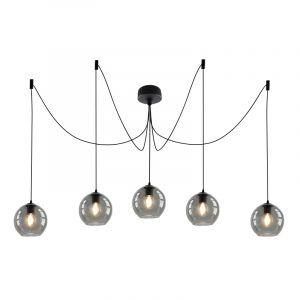Design plafondlamp Pepe met 5 rookglas bollen