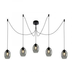Design plafondlamp Pepe met 5 rookglas ovale kappen