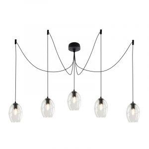 Desgin plafondlamp Pepe met 5 transparante ovale kappen