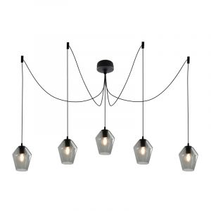Design plafondlamp Pepe met 5 rookglas diamant kappen