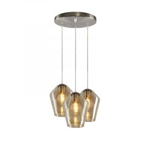Ronde glazen hanglamp Pepita, 3 amberkleurige diamant kappen