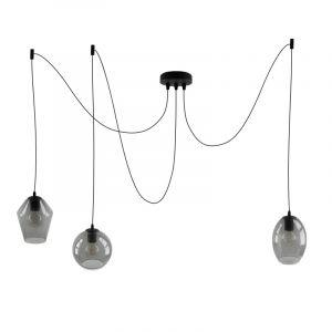 Design rookglas plafondlamp Lazaro met 3 glazen kappen