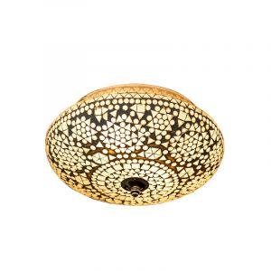 Transparante mozaiek plafondlamp Mimoun, mozaiek,metaal