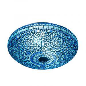 Blauwe mozaiek plafondlamp Louay, mozaiek,metaal