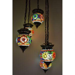 Gekleurde arabische hanglamp Amir, mozaiek