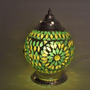 Groene oosterse tafellamp Sabri, glasmozaiek+ metaal