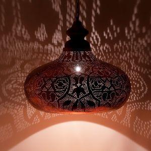 Koperen oosterse hanglamp Zina, Metaal
