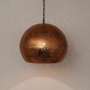 Koperen filigrain hanglamp Kenza, Metaal