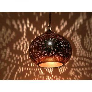 Bladkoper arabische hanglamp Noah, Metaal