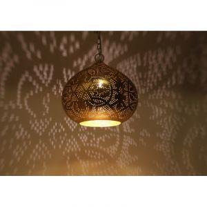 Bladgoud arabische hanglamp Noah, Metaal