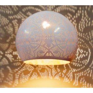 Hoogglans wit, gouden filigrain hanglamp Kenza, Metaal