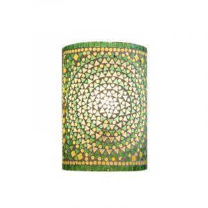 Groene oosterse wandlamp Mahdia, mozaiek
