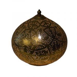Gouden marrokaanse tafellamp, filigrain Nour, metaal